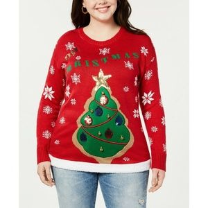 """Planet Gold Plus Size """"Oh Christmas"""" Tree Sweater"""